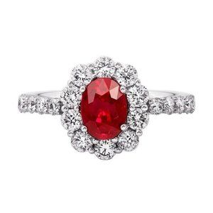 Prong set oval ruby with diamonds 3.50 carats Wedd